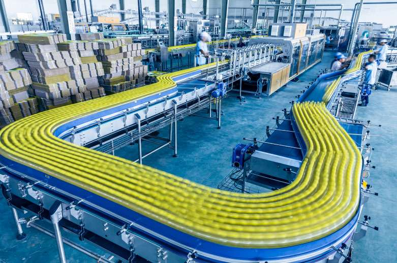In production bottle conveyor system